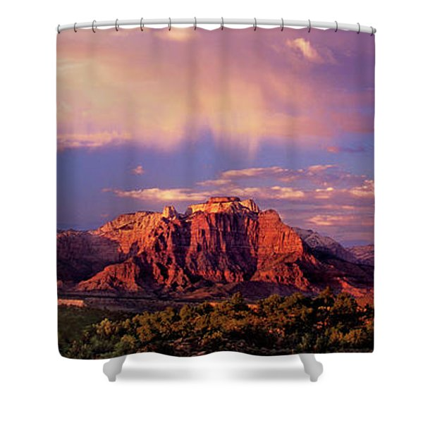 Panorama West Temple At Sunset Zion Natonal Park Shower Curtain