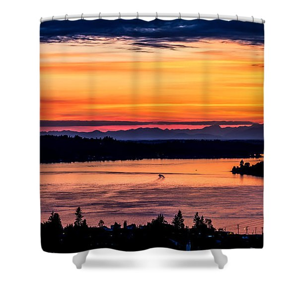 Panoramic Sunset Over Hail Passage E Series On The Puget Sound Shower Curtain