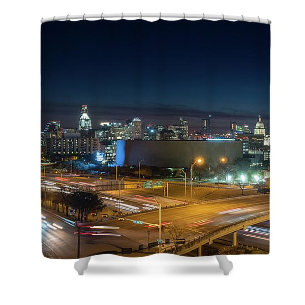 Panoramic View Of Busy Austin Texas Downtown Shower Curtain