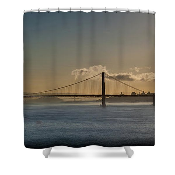 Panoramic View Of Downtown San Francisco Behind The Golden Gate  Shower Curtain