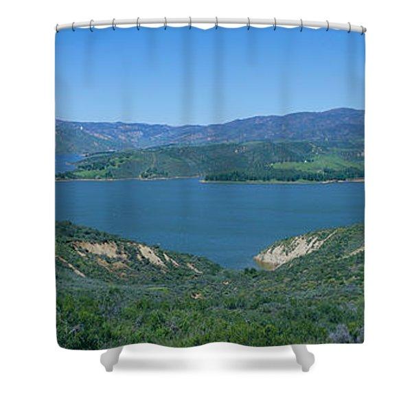Panoramic View Of Lake Castaic Shower Curtain