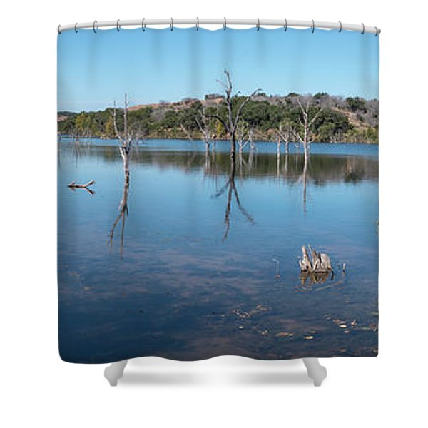 Panoramic View Of Large Lake With Grass On The Shore Shower Curtain