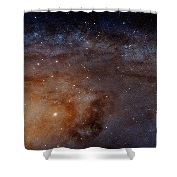 Panoramic View Of The Andromeda Galaxy Shower Curtain