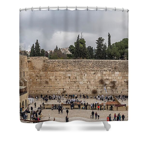 Panoramic View Of The Wailing Wall In The Old City Of Jerusalem Shower Curtain