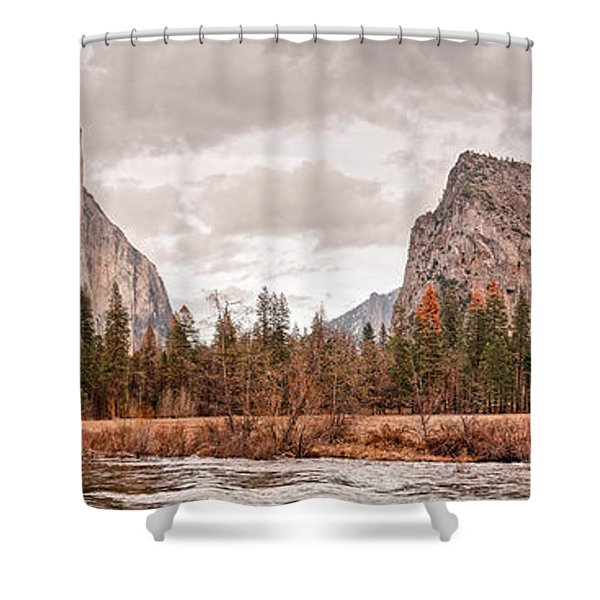 Panoramic View Of Yosemite Valley From Bridal Veils Falls Viewing Point - Sierra Nevada California Shower Curtain