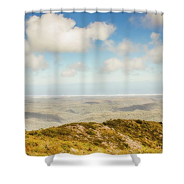 Panoramic Views From Mount Zeehan To Trial Harbour Shower Curtain