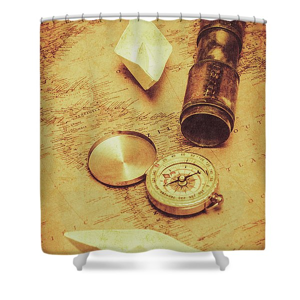 Paper Cargo Boats And Shipping Routes Shower Curtain