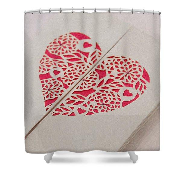 Paper Cut Heart Shower Curtain