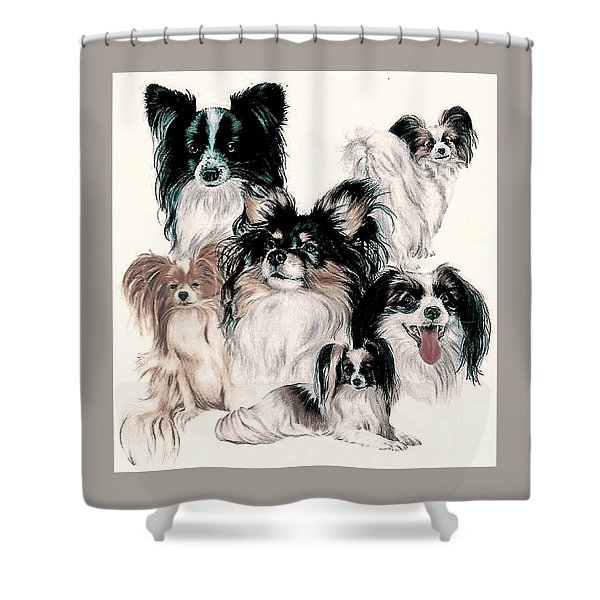 Shower Curtain featuring the mixed media Papillon And Phalene Collage by Barbara Keith