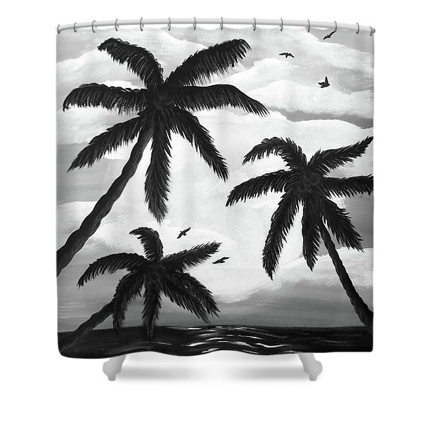 Paradise In Black And White Shower Curtain