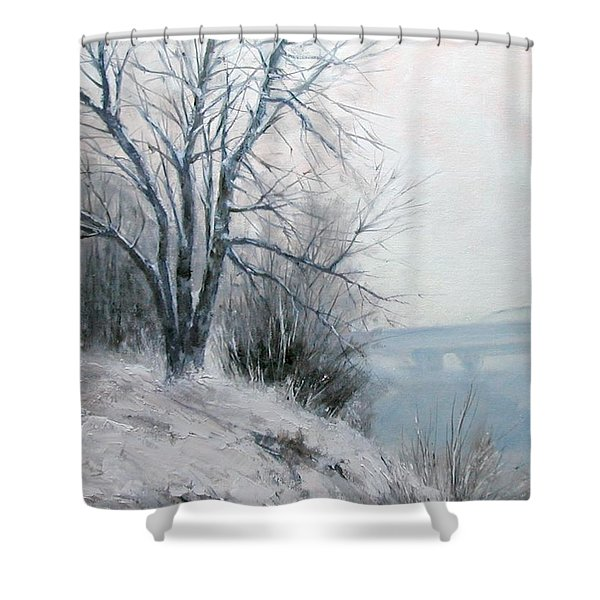Paradise Point Bridge Winter Shower Curtain
