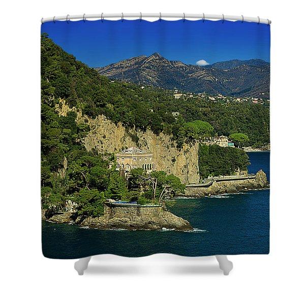 Paraggi Bay Castle And Liguria Mountains Portofino Park  Shower Curtain
