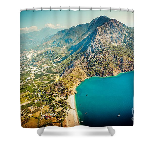 Shower Curtain featuring the photograph Paragliding Fly Above Laguna Artmif.lv by Raimond Klavins
