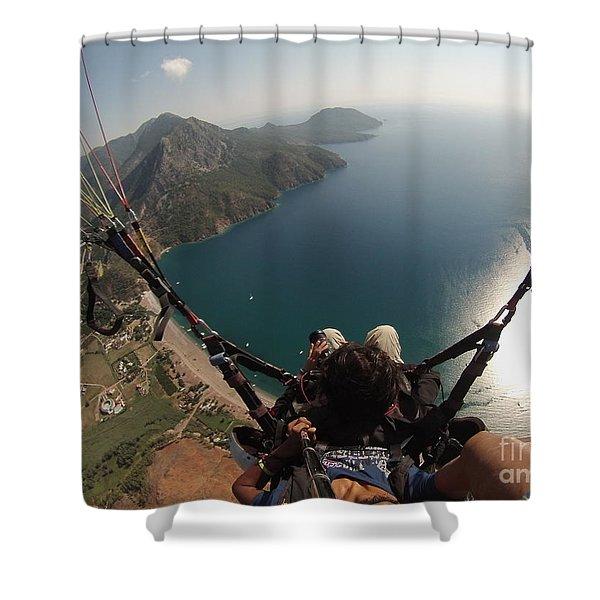 Shower Curtain featuring the photograph Paragliding Fly Above Laguna Seascape by Raimond Klavins