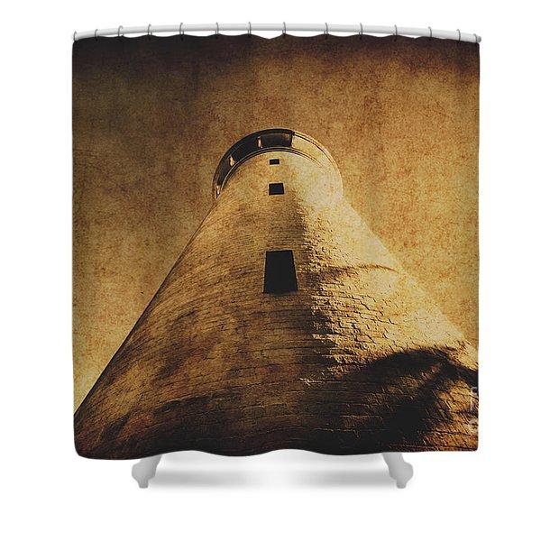 Parchment Paper Lighthouse Shower Curtain