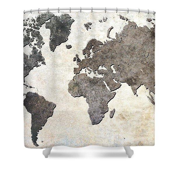 Parchment World Map Shower Curtain