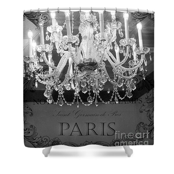 Paris Black And White Crystal Chandeliers - French Parisian Black White Crystal Chandelier Art Shower Curtain