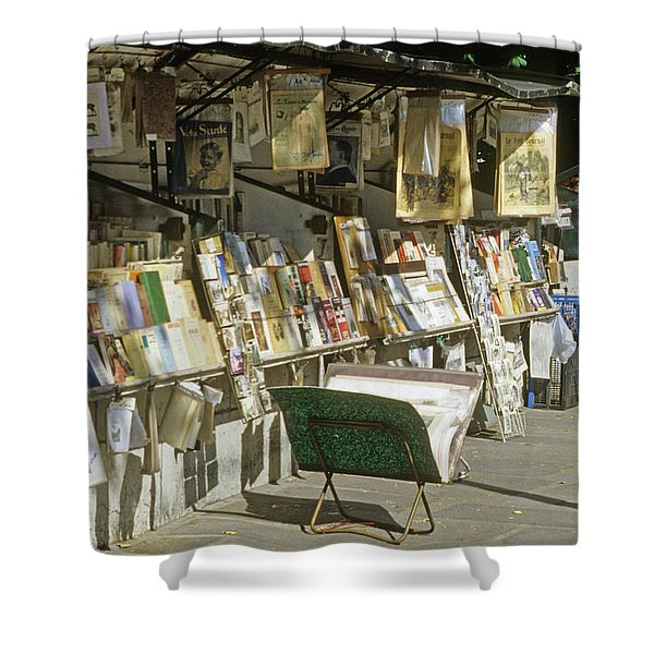 Paris Bookseller Stall Shower Curtain