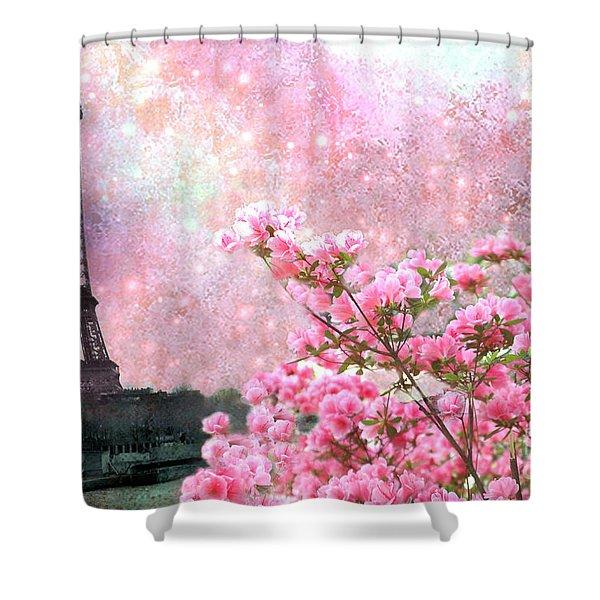Paris Eiffel Tower Cherry Blossoms - Paris Spring Eiffel Tower Pink Cherry Blossoms  Shower Curtain