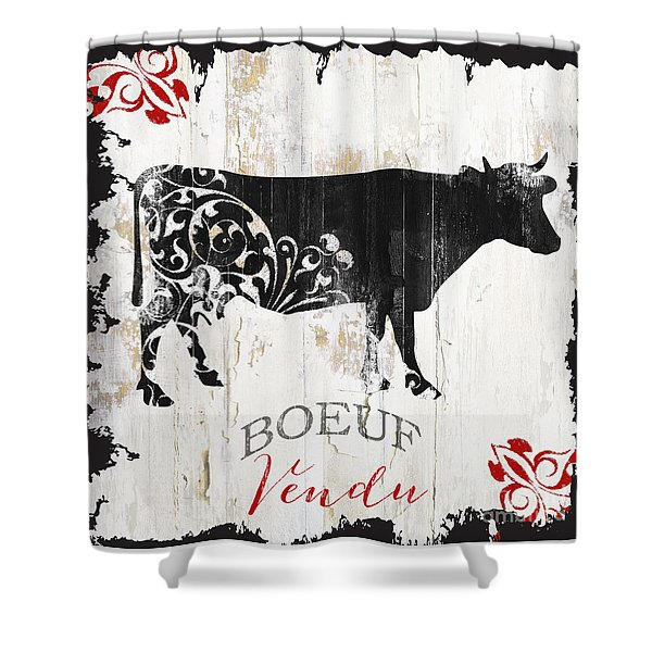 Paris Farm Sign Cow Shower Curtain