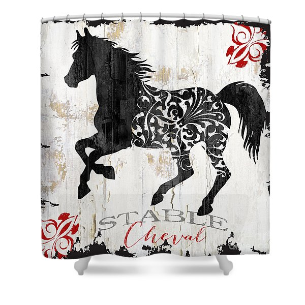 Paris Farm Sign Horse Shower Curtain
