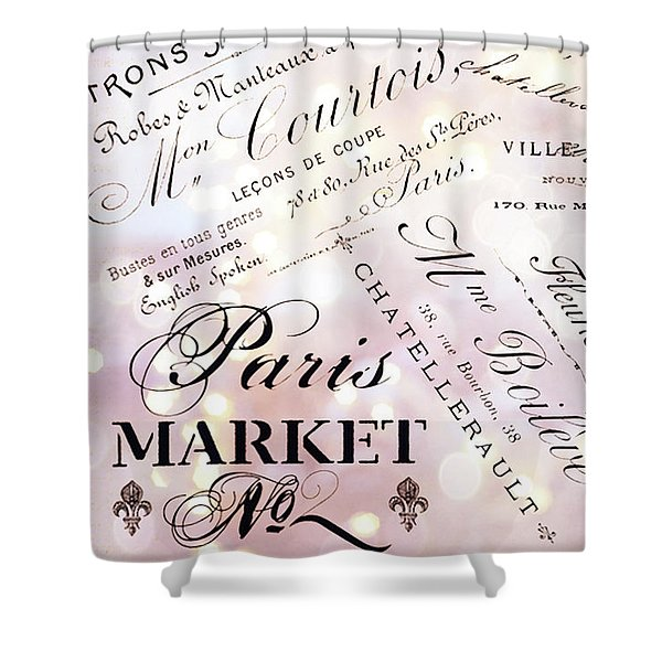 Paris French Script Wall Decor - French Script Letters Typography - Paris French Script Wall Decor Shower Curtain