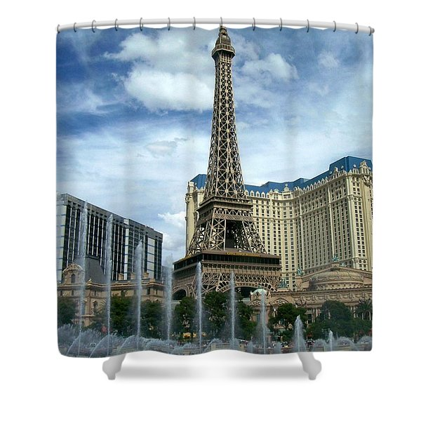 Shower Curtain featuring the photograph Paris Hotel And Bellagio Fountains by Anita Burgermeister