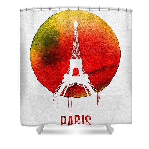 Paris Landmark Red Shower Curtain