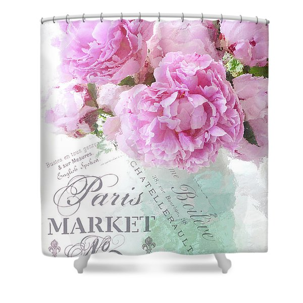 Paris Peonies Impressionistic Romantic Peony Peonies French Script Shabby Chic Decor Shower Curtain