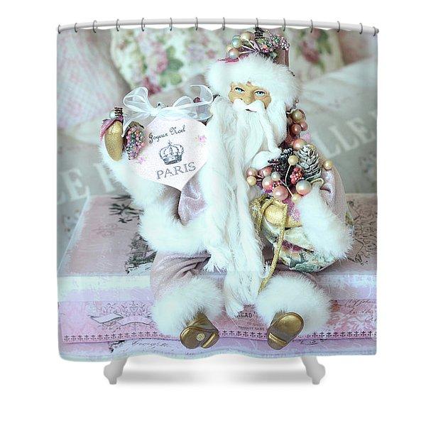 Paris Shabby Chic Pink And White Santa - Joyeux Noel - Shabby Chic Santa Claus Prints Home Decor Shower Curtain