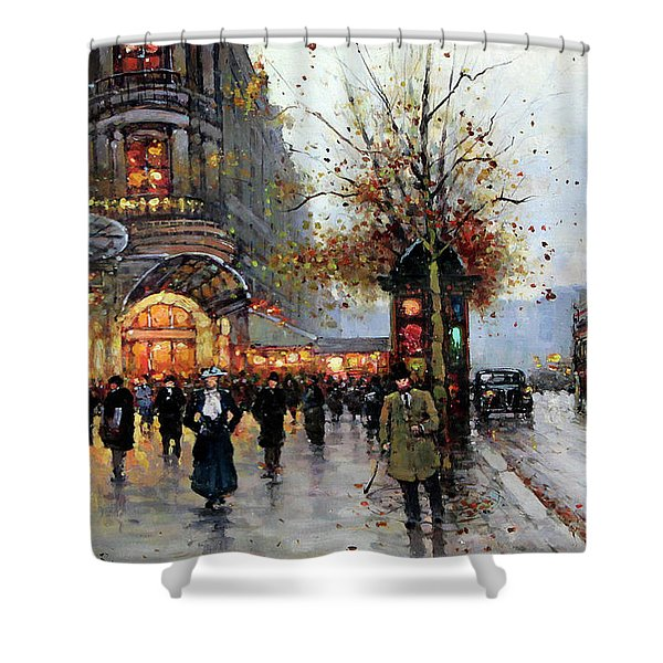 Paris Street Scene Shower Curtain