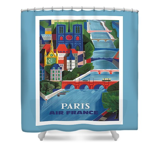 Paris The Seine River Vintage Travel Poster By Jean Vernier Shower Curtain