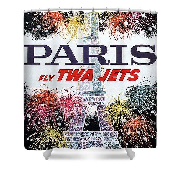 Paris - Twa Jets - Trans World Airlines - Eiffel Tower - Retro Travel Poster - Vintage Poster Shower Curtain