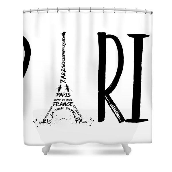 Paris Typography Shower Curtain