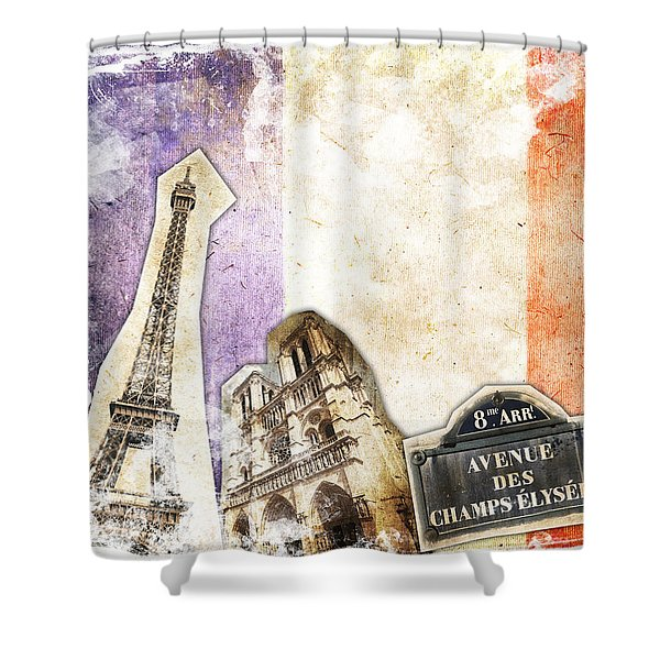 Paris Vintage Collage Shower Curtain