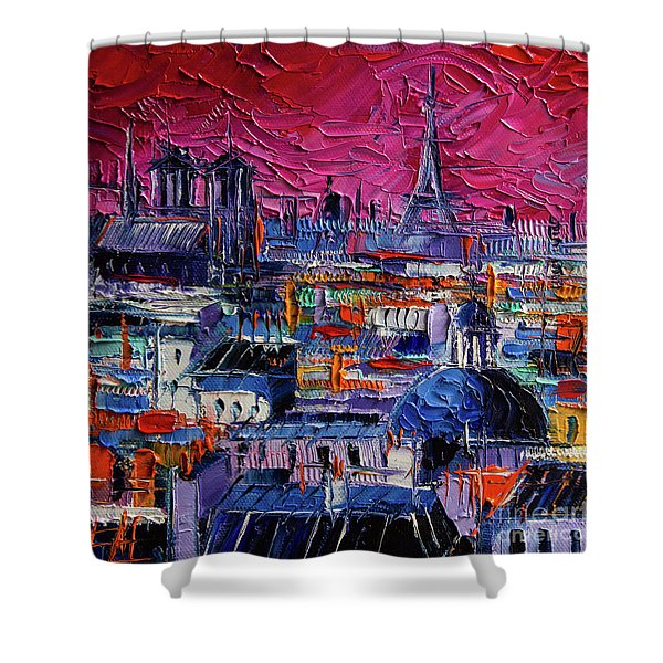 Parisian Roofs Modern Impressionist Stylized Cityscape Palette Knife Impasto Oil Painting Shower Curtain