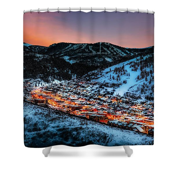 Park City Winter Sunset Shower Curtain