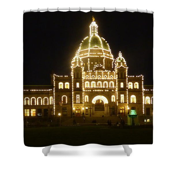 Shower Curtain featuring the photograph Parliament Building At Night - Victoria British Columbia by Charles Robinson