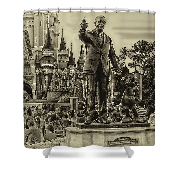 Partners Statue Walt Disney And Mickey In Black And White Shower Curtain