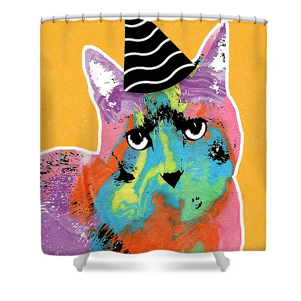 Party Cat- Art By Linda Woods Shower Curtain