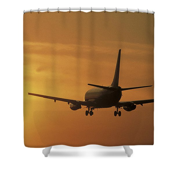 Passenger Plane Taking Off Lax Airport Shower Curtain