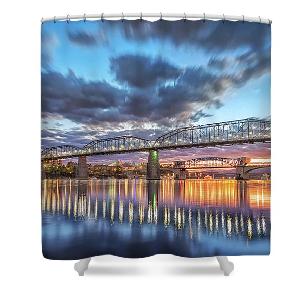 Passing Clouds Above Chattanooga Pano Shower Curtain