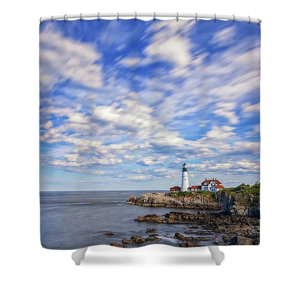 Passing Clouds At Portland Head Light Shower Curtain