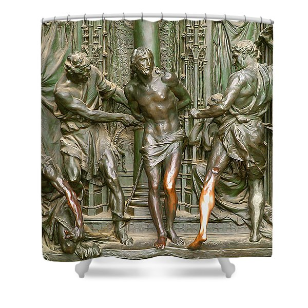 Passion Of The Christ - Flagellation - Patina Shower Curtain