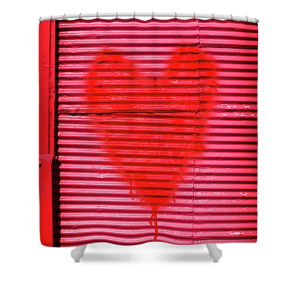 Passionate Red Heart For A Valentine Love Shower Curtain