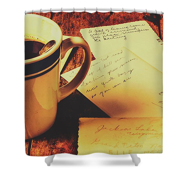 Past Postcard Preoccupations  Shower Curtain