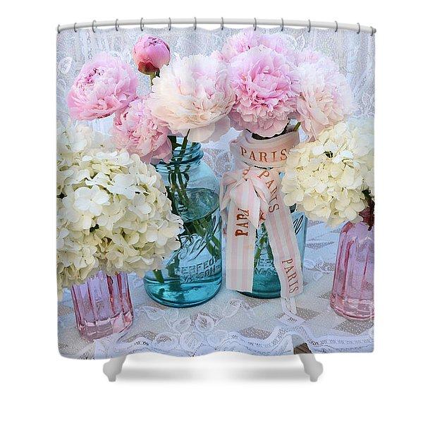 Pastel Pink Peonies Shabby Chic Art - Spring Flower Garden Peonies Hydrangeas In Vintage Jars Shower Curtain