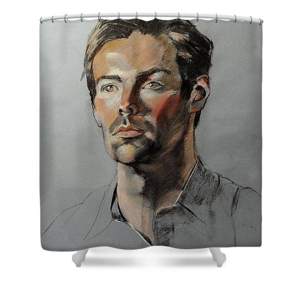 Pastel Portrait Of Handsome Guy Shower Curtain