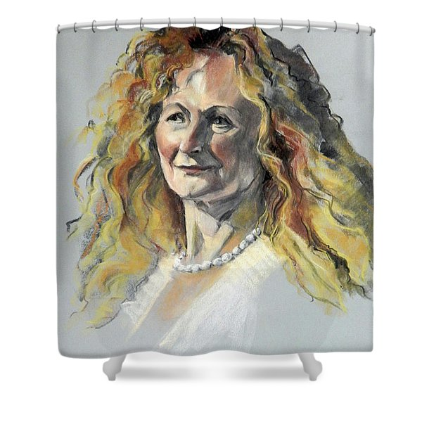 Pastel Portrait Of Woman With Frizzy Hair Shower Curtain
