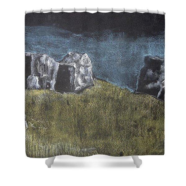 Pastel Stones On Black Shower Curtain